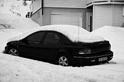Harsh Conditions Framed Prints - Car Buried In Snow Outside House In Honningsvag Norway Europe Framed Print by Joe Fox