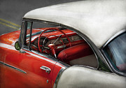 White Chevy Prints - Car - Classic 50s  Print by Mike Savad