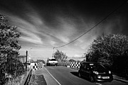 Liverpool Prints - Car Driving Over Narrow Blue Anchor Bridge No 8 On Liverpool Leeds Canal Main Line At Aintree Print by Joe Fox