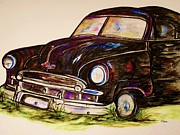 Collector Hood Ornament Mixed Media Prints - Car of Character Print by Eloise Schneider