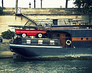 Quay Wall Framed Prints - Car on a boat Framed Print by Chevy Fleet