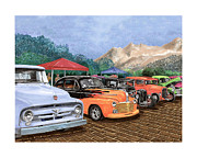 Metal Prints Drawings - Car Show in Silver City N M by Jack Pumphrey