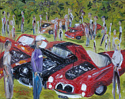 Spectators Paintings - Car Show by Judith Rhue