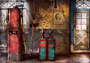 Nostalgic Prints - Car - Station - Gas Pumps Print by Mike Savad