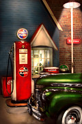 Road Travel Posters - Car - Station - White Flash Gasoline Poster by Mike Savad