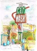 Cards Vintage Painting Prints - Car wash in Hollywood Way and Alameda Ave - Burbank - California Print by Carlos G Groppa