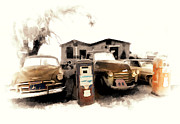 Old Roadway Digital Art Posters - Car Wash On Route 66 Poster by Ron Regalado