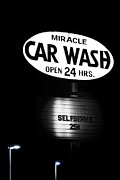 Night Lamp Photo Posters - Car Wash Poster by Tom Mc Nemar