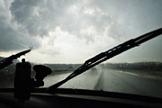 Brignoles Framed Prints - Car windshield by heavy rains on road Framed Print by Sami Sarkis
