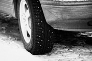 Tyres Prints - Car With Studded Winter Tyres Parked On Ice In Kirkenes Finnmark Norway Europe Print by Joe Fox