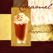 Coffee Themed Posters - Caramel Frap Poster by Lourry Legarde