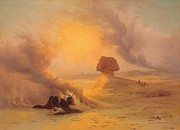 Desert Paintings - Caravan caught in the Sinum wind near Gizah by Johann Jakob Frey