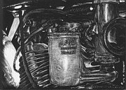 Bicycle Drawings - Carburetor Comet detail by Matthew Jarrett