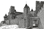 Knights Castle Drawings - Carcassonne by Brian Ceitinn