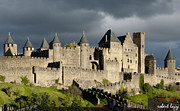 South France Posters - Carcassonne Stormy Skies Poster by Robert Lacy