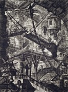 Dark Drawings Prints - Carceri VII Print by Giovanni Battista Piranesi