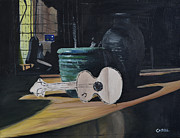 Oil On Cardboard Prints - Cardboard Guitar Print by Cathal Gallagher
