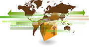 Cardboard Digital Art - Cardboard shipping box with world map for international shipping by Gino De Graaf