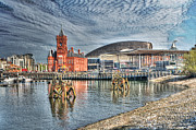 Steve Purnell Photo Metal Prints - Cardiff Bay Textured Metal Print by Steve Purnell