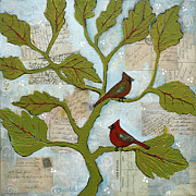 Red Leaves Mixed Media Posters - Cardinal Bird Notes Poster by Blenda Tyvoll