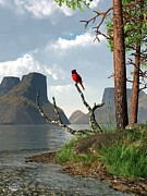 Daniel Eskridge - Cardinal by a Lake