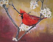 Plum Pastels - Cardinal in Plum by Leanne Whipple