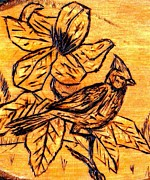 Cardinal Pyrography - Cardinal In The Spring by Neil Stuart Coffey