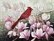 Bird Paintings - Cardinal by Komi Chen