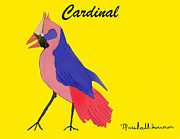 Cardinal Drawings Prints - Cardinal Print by Marshall Swerman