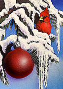 Pine Trees Mixed Media Metal Prints - Cardinal One Ball Metal Print by Darren Robinson