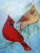 United States Paintings - Cardinal Pair by Loretta Luglio