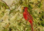 Cherry Blossoms Paintings - Cardinal Singing by Eldora  Larson