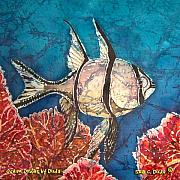 Blue Tapestries - Textiles Posters - Cardinalfish Poster by Sue Duda