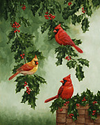 Bird Greeting Cards Prints - Cardinals and Holly - Version without Snow Print by Crista Forest