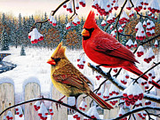 Shell Texture Painting Prints - Cardinals Birds Winter Cardinals Print by MotionAge Art and Design - Ahmet Asar