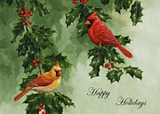 Red Berries Framed Prints - Cardinals Holiday Card - Version without snow Framed Print by Crista Forest