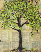 Decor Mixed Media Prints - Cardinals in a Tree Print by Blenda Tyvoll