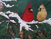 Fauna Originals - Cardinals in the Snow by Sharon Duguay