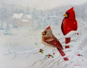 Snowy Trees Paintings - Cardinals by Jamie Frier