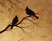 Birds On A Branch Posters - Cardinals Silhouettes coffee painting Poster by Georgeta  Blanaru