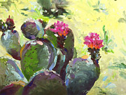 Southwest Landscape Paintings - Carefree Cactus by Renee Womack