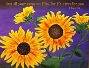 Religious Art Paintings - Carefree Sunflowers by Mona Elliott
