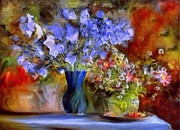 Vase Of Flowers Mixed Media Posters - Caress Of Spring - Impressionism Poster by Zeana Romanovna