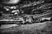 Steve Purnell Photo Metal Prints - Carew Castle Pembrokeshire 3 Mono Metal Print by Steve Purnell