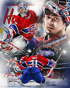 Goaltender Digital Art Framed Prints - Carey Price Framed Print by Mike Oulton