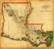 Vintage Map Paintings - Carey s Map of Louisiana in 1814 by MotionAge Art and Design - Ahmet Asar