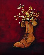 Floral Still Life Originals - Cargo Boot Series Unusual Flower Pot by Patricia Awapara