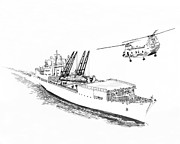 Helicopter Drawings - Cargo Ship Delivering the Friday night movies by Jack Pumphrey