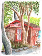 Red Wine Prints Painting Framed Prints - Carhartt-Tasting-Room-in-Los-Olivos-CA Framed Print by Carlos G Groppa
