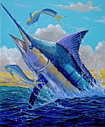 Sailfish Painting Posters - Carib Blue Poster by Carey Chen